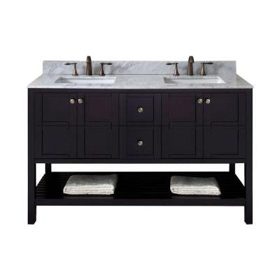 Winterfell 60 in. W x 22 in. D x 36 in. H Vanity in Espresso with Marble Vanity Top in White and Round Basin