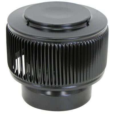 Aura PVC Vent Cap 6 in. Dia Exhaust Vent with Adapter to Fit Over 6 in. PVC Pipe in Black Powder Coat