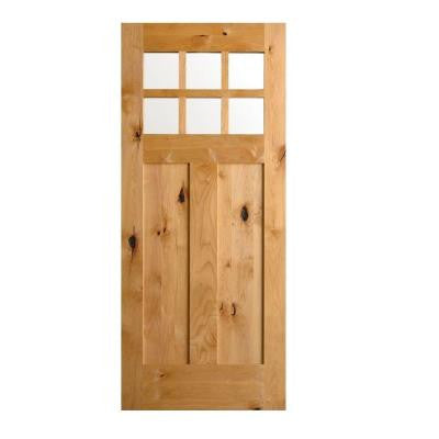 36 in. x 80 in. Krosswood Craftsman Unfinished Rustic Knotty Alder Solid Wood Single Prehung Front Door