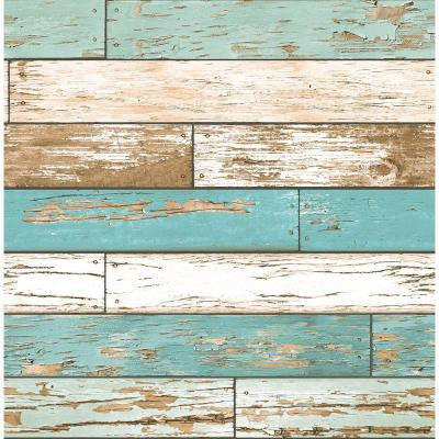 8 in. W x 10 in. H Turquoise Scrap Wood Weathered Texture Wallpaper Sample