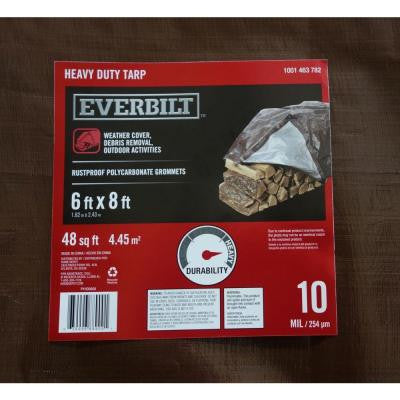6 ft. x 8 ft. Silver/Brown Heavy-Duty Tarp