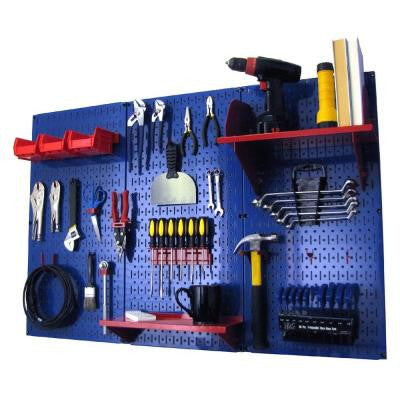 32 in. x 48 in. Metal Pegboard Standard Tool Storage Kit with Blue Pegboard and Red Peg Accessories
