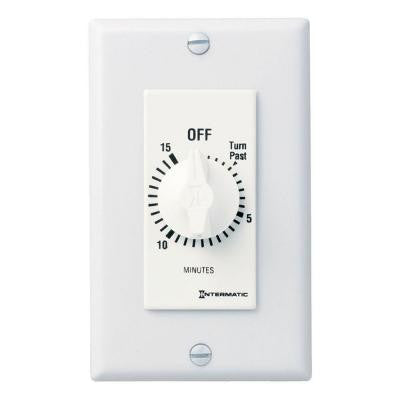 20 Amp 15-Minute Spring Wound In-Wall Timer - White