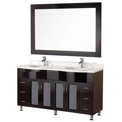 Cambridge 61 in. W x 22 in. D Vanity in Espresso with Marble Vanity Top and Mirror in Carrera White