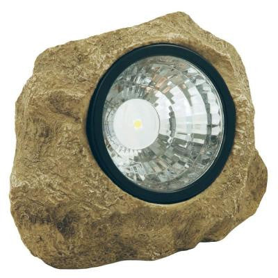 Solar Powered LED Poly-Resin Outdoor Rock Spotlight with Hidden Key Compartment