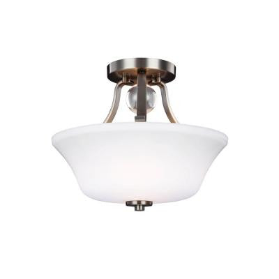 Evington 2-Light Satin Nickel Ceiling Fixture