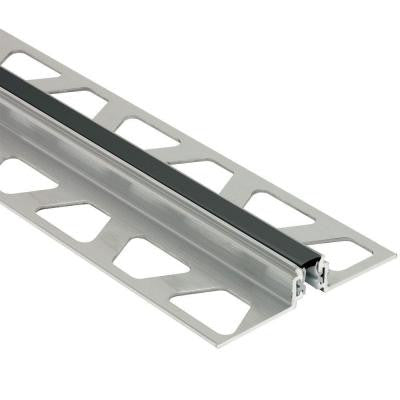 Dilex-AKWS Aluminum with Black Insert 7/16 in. x 8 ft. 2-1/2 in. PVC and Metal Movement Joint Tile Edging Trim
