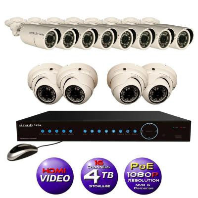 16CH High Definition 1080P IP POE-NVR Surveillance System with 4TB Hard Drive, 8 Weatherproof Bullet and 4 Dome Cameras