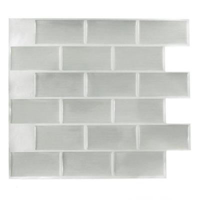 11.25 in. x 10 in. Steel Subway Adhesive Decorative Wall Tile (8-Pack)