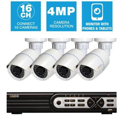 Freedom Series 16-Channel 4MP 1TB Network Video Recorder with (4) 4MP High Definition Bullet Cameras