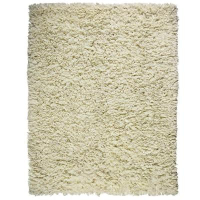 Creme White 3 ft. x 5 ft. Shag Area Rug