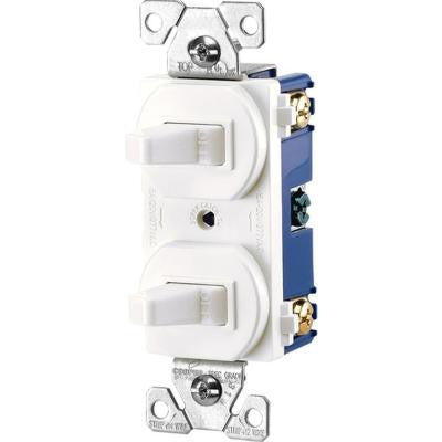 Commercial Grade 15-Amp Single Pole 2 Toggle Switches with Back and Side Wiring - White
