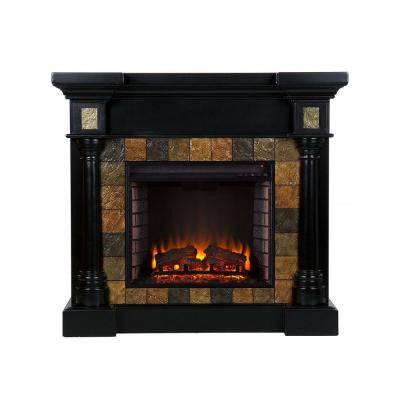 Abir 44.5 in. Convertible Electric Fireplace in Black with Faux Slate