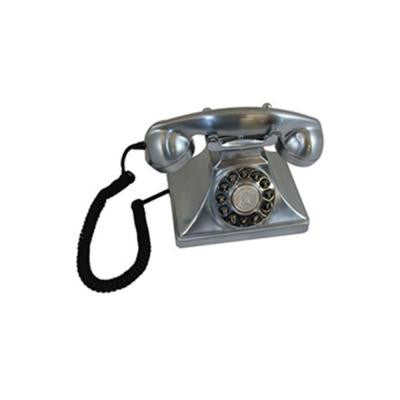 Analog Corded 1929 Brittany Chrome-Colored Replication Telephone with Faux Rotary Dial