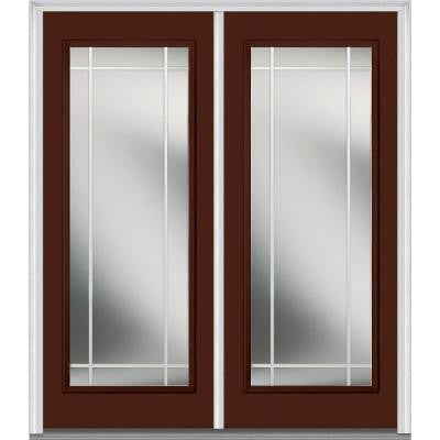 64 in. x 80 in. Classic Clear Glass PIM Full Lite Painted Majestic Steel Double Prehung Front Door