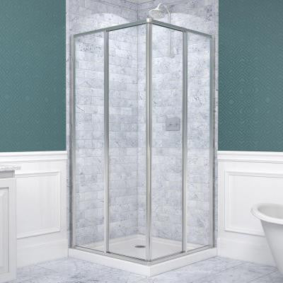 Cornerview 36 in. x 36 in. x 74-3/4 in. Sliding Shower Enclosure in Chrome with Shower Base