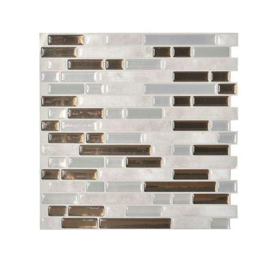 Grigio 10.00 in. x 10.06 in. Peel and Stick Mosaic Decorative Wall Tile Backsplash in Grey