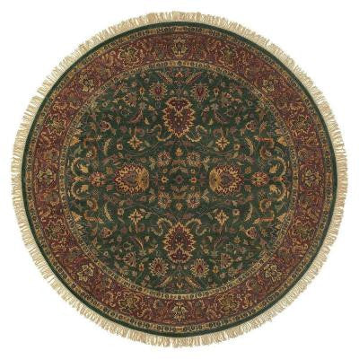 Ardashir Dark Forest Green 8 ft. Round Area Rug