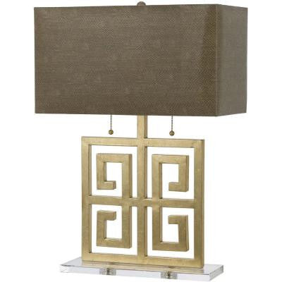 Santorini 26.5 in. Gold Foil Table Lamp with Faux Snake Shade