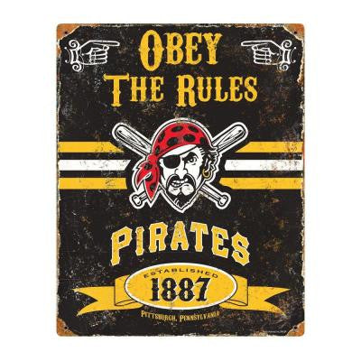 14.5 in. H x 11.5 in. D Heavy Duty Steel Pittsburgh Pirates Embossed Metal Sign Wall Art