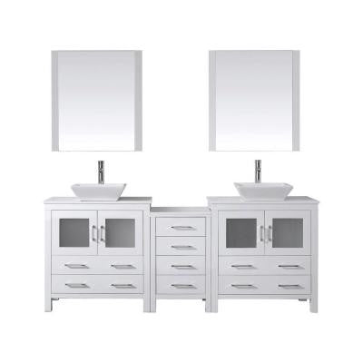 Dior 82 in. Double Vanity in White with Pure Stone Vanity Top in White and Mirrors