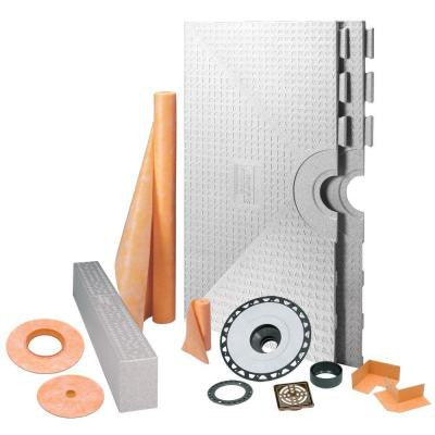 Kerdi-Shower 48 in. x 48 in. Shower Kit in ABS with Oil-Rubbed Bronze Stainless Steel Drain Grate