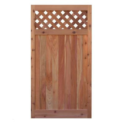 3 ft. W x 6 ft. H Western Red Cedar Flat Top Diagonal Lattice Fence Gate