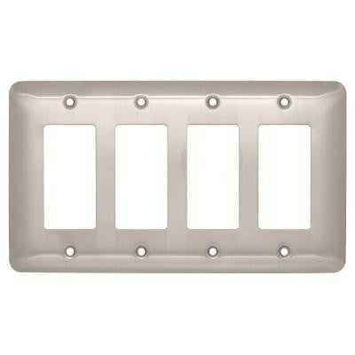 Stamped Round 4 Decora Wall Plate - Satin Nickel