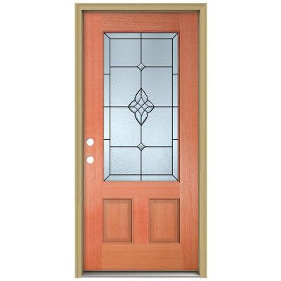 36 in. x 80 in. Rosemont 3/4 Lite Unfinished Mahogany Wood Prehung Front Door with Brickmould and Patina Caming