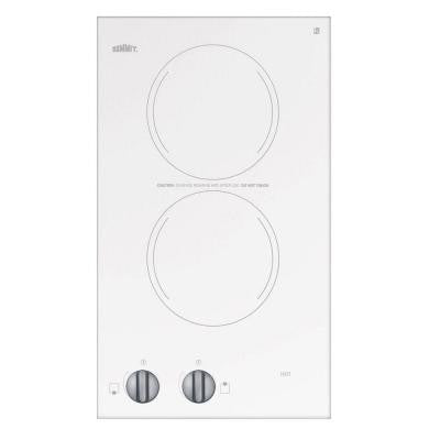 12 in. Radiant Electric Cooktop in White with 2 Elements