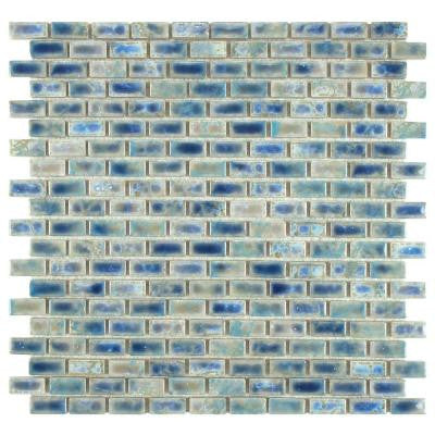 Rustica Subway Neptune Blue 11-3/4 in. x 11-3/4 in. x 6 mm Glazed Porcelain Mosaic Floor and Wall Tile