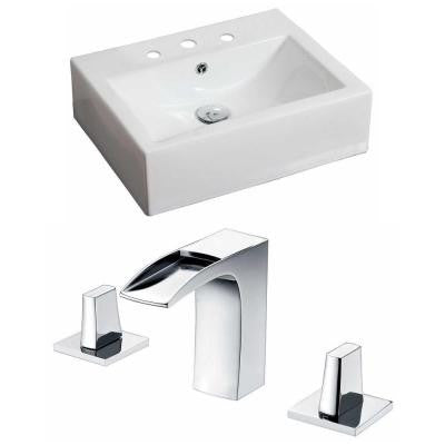 Rectangle Vessel Sink Set in White with 8 in. O.C. cUPC Faucet
