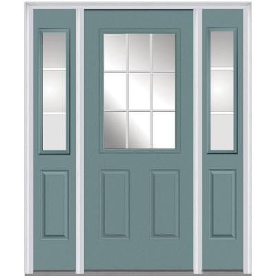 64 in. x 80 in. Classic Clear Glass GBG 1/2-Lite Painted Fiberglass Smooth Prehung Front Door with Sidelites