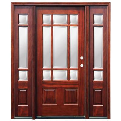 68 in. x 80 in. Craftsman 9 Lite Stained Mahogany Wood Prehung Front Door with 6 in. Wall Series and 12 in. Sidelites