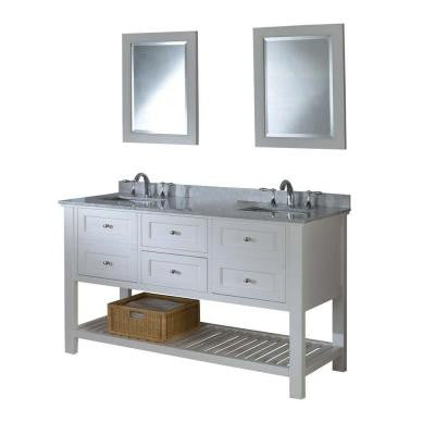 Mission Spa 60 in. Double Vanity in Pearl White with Marble Vanity Top in Carrara White and Mirrors