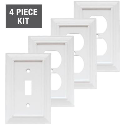 1 Gang 4-Piece Toggle Wall Plate Starter Kit - White