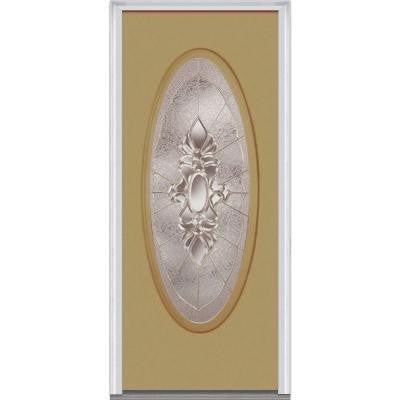 36 in. x 80 in. Heirloom Master Decorative Glass Full Oval Lite Painted Builder's Choice Steel Prehung Front Door