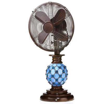 10 in. Mosaic Glass Azure Table Fan