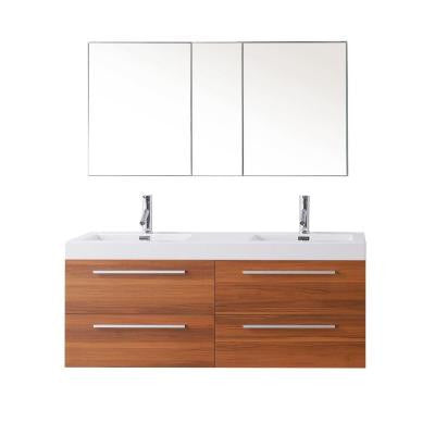 Finley 53-7/8 in. Double Basin Vanity in Plum with Poly-Marble Vanity Top in White