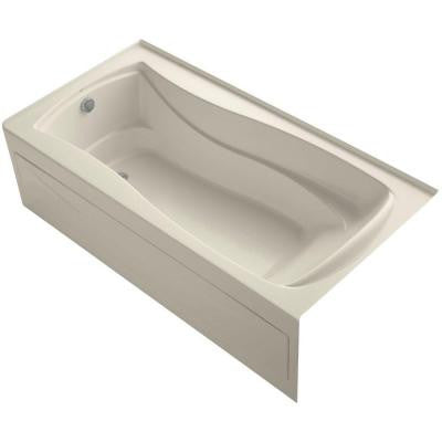 Mariposa 6 ft. Left Drain Soaking Tub in Almond with Bask Heated Surface