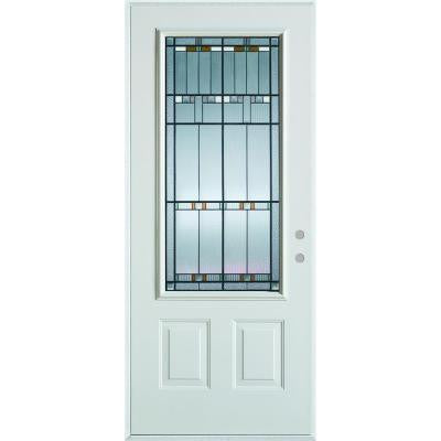 32 in. x 80 in. Architectural 3/4 Lite 2-Panel Prefinished White Steel Prehung Front Door