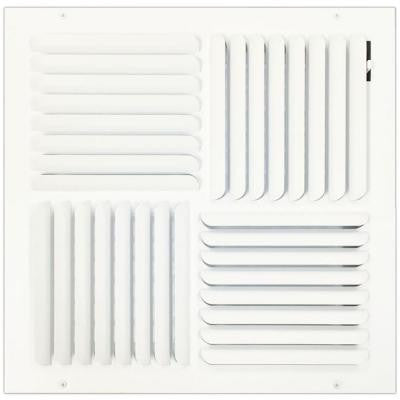 16 in. x 16 in. Ceiling or Wall Register with Curved 4-Way Deflection, White