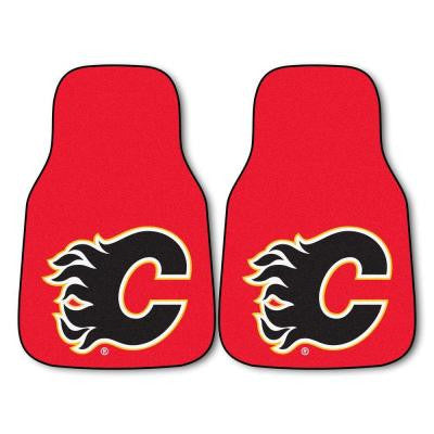 Calgary Flames 18 in. x 27 in. 2-Piece Carpeted Car Mat Set
