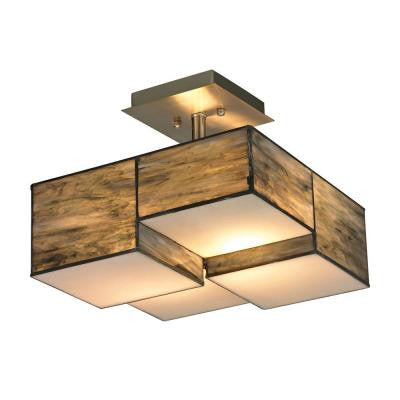 Braque Collection 2-Light Brushed Nickel LED Semi-Flush Mount Light