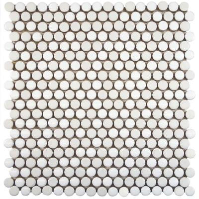 Galaxy Penny Round White 11-1/4 in. x 11-3/4 in. x 9 mm Porcelain Mosaic Tile