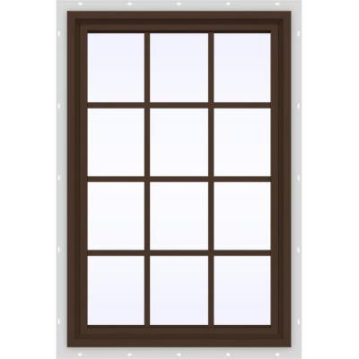 35.5 in. x 47.5 in. V-4500 Series Fixed Picture Vinyl Window with Grids - Bronze