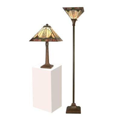 Stanton Mission Table Lamp and Torchiere Combo Set