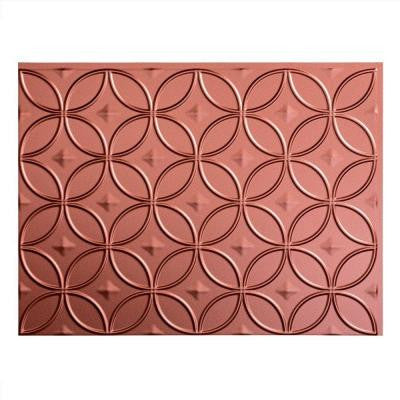 24 in. x 18 in. Rings PVC Decorative Backsplash Panel in Argent Copper