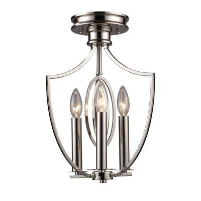 Dione 9 in. 3-Light Polished Nickel Semi Flush Mount