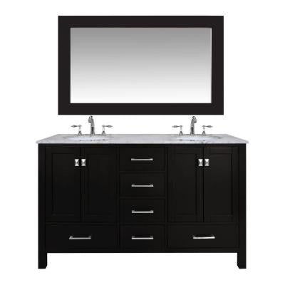 Malibu 60 in. Vanity in Espresso with Marble Vanity Top in Carrara White with Mirror